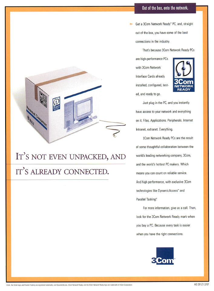 Portfolio sample: print ad for 3Com touting out-of-the-box connectivity.