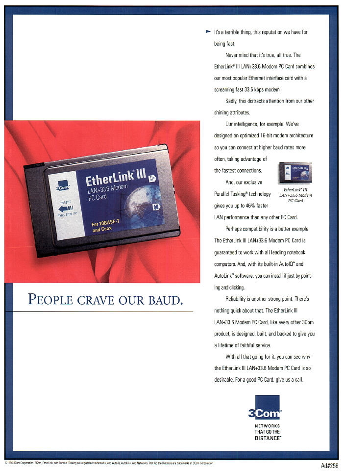 Portfolio sample: print ad for the 3Com network/modem card.