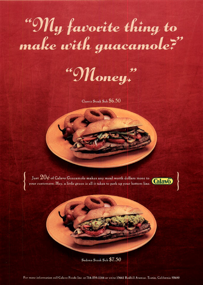 Portfolio sample: print ad for Calavo guacamole, aimed at the restaurant trade.