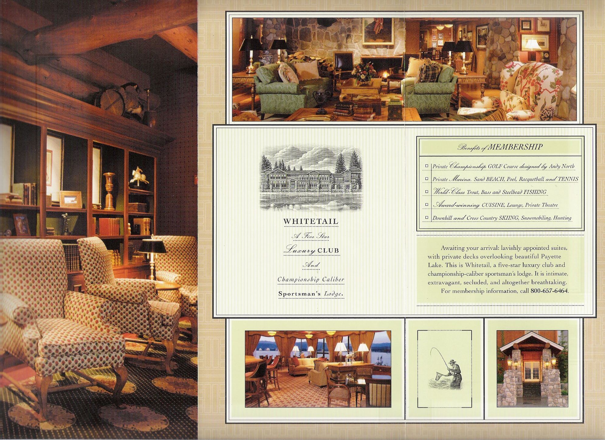 Brochure copy sample: resort brochure inside three-panel spread.